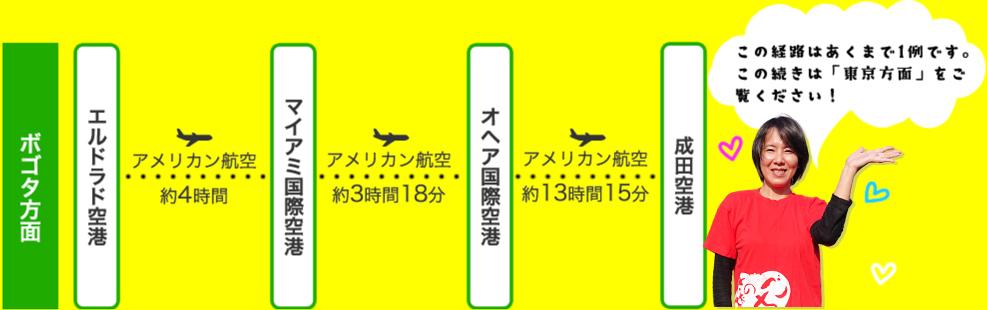飛行機をご利用の場合の図(ボゴタ方面)